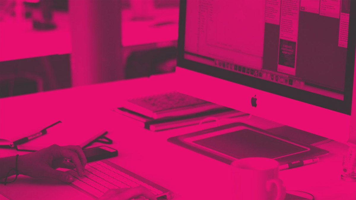 Studio Seventeen blog (pink tinted image of someone typing on a keyboard)