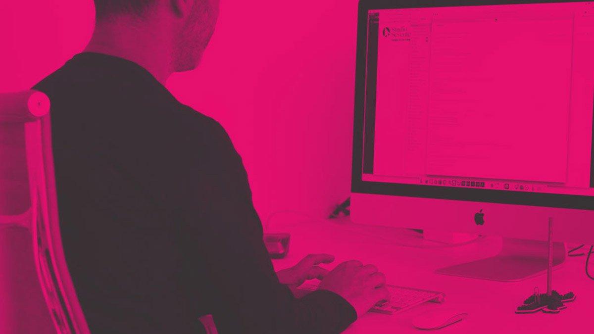 Studio Seventeen blog (pink tinted image of typing on keyboard)
